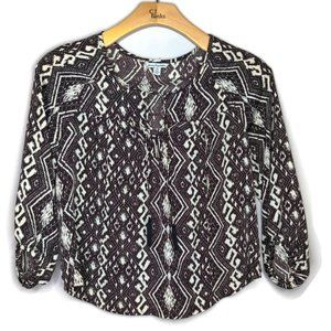 AE Outfitters Black & White Tribal Print Blouse
